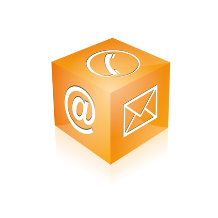 Contact cube phone at email e-mail hotline kontaktfomular callcenter call pictogram sign symbol cube Vector