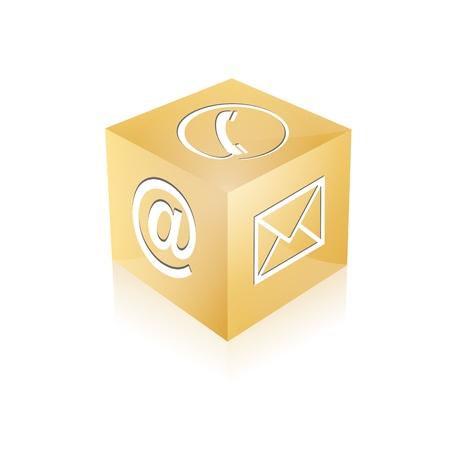 Contact cube phone at email e-mail hotline kontaktfomular callcenter call pictogram sign symbol cube Stock Vector - 14757913