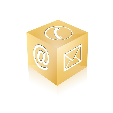 contact center: Contact cube phone at email e-mail hotline kontaktfomular callcenter call pictogram sign symbol cube Illustration