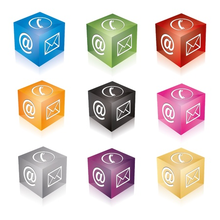 call center office: Contact cube phone at email e-mail hotline kontaktfomular callcenter call pictogram sign symbol cube set Illustration