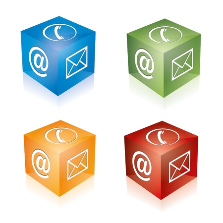 callcenter: Contact cube phone at email e-mail hotline kontaktfomular callcenter call pictogram sign symbol cube set Illustration