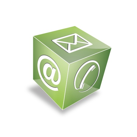 listener: 3d Contact cube phone at email e-mail hotline kontaktfomular callcenter call pictogram sign symbol cube Illustration