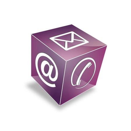 3d Contact cube phone at email e-mail hotline kontaktfomular callcenter call pictogram sign symbol cube Vector