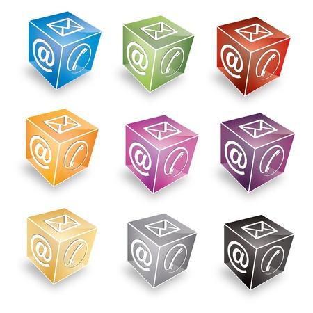hotline: 3d Kontakt cube telefonisch unter E-Mail E-Mail-Hotline kontaktfomular callcenter Anruf Piktogramm symbol cube set Illustration