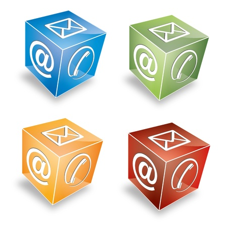 logo marketing: 3d Contact cube phone at email e-mail hotline kontaktfomular callcenter call pictogram sign symbol cube set