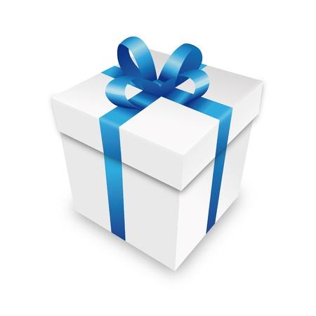 gifts: geschenkpakket gift box pakket blauw perceel wrapping valentijn Stock Illustratie