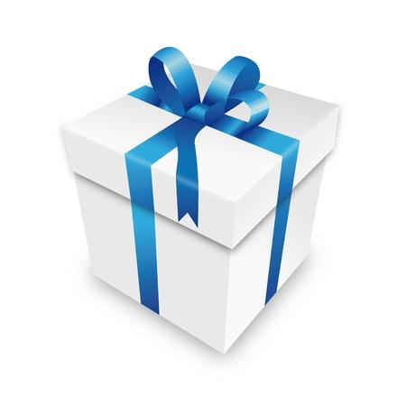 uitpakken: geschenkpakket gift box pakket blauw perceel wrapping valentijn Stock Illustratie