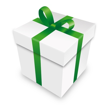free gift: gift package gift box packet green parcel wrapping xmas valentine Illustration