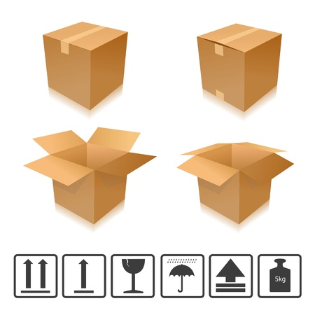 parcel parcel delivery set transport box cardboard delivery parcel shipment tracking logistics Vector