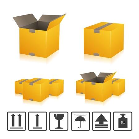 parcel parcel delivery set transport box cardboard delivery parcel shipment tracking logistics Stock Vector - 15329305