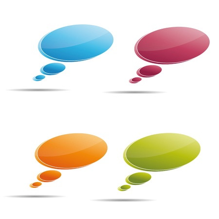 Talking bubble set speech bubble thought bubble icon bubble help answer mindmap internet advertising faqs comic Illustration
