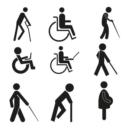 핸디캡: 설정 아이콘 기호 휠체어 노트북 임신 블라인드 목발 기호 액세스 장애인 일러스트