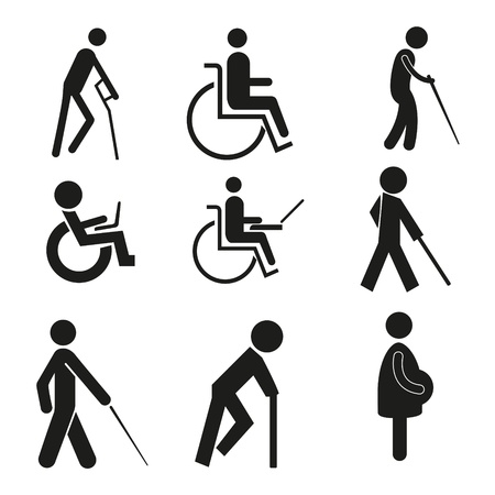 walker: set icon symbol wheelchair notebook pregnant blind crutch sign handicapped accessible