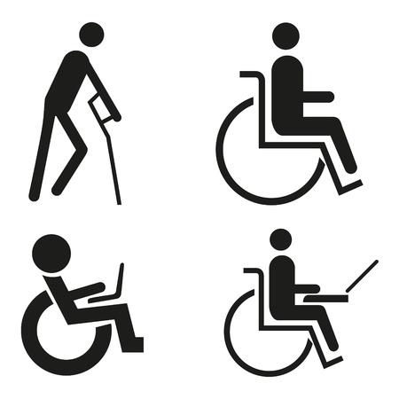 paraplegico: conjunto de iconos símbolo cuaderno silla de ruedas silla de ruedas Accessibilit signo muleta ciego acceso para discapacitados