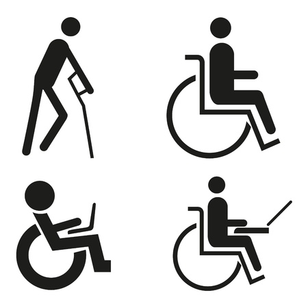 wheelchair: set icon symbol wheelchair notebook wheelchair Accessibilit blind crutch sign handicapped accessible