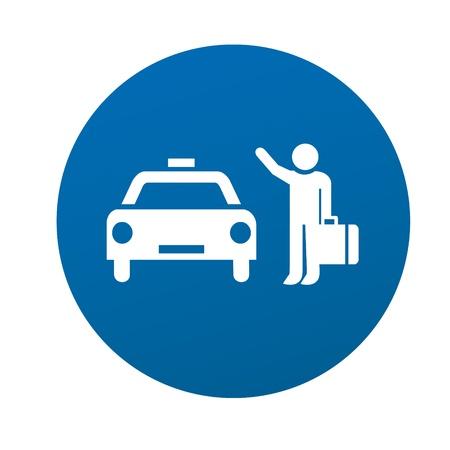 taxi service car driver cap passenger transport minicomputer sign icon symbol traffic sign Vector