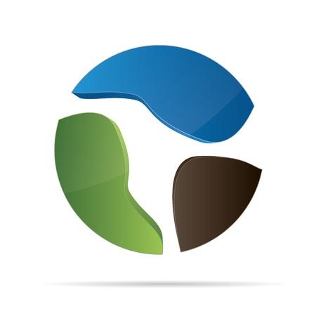 eco slogan: Logo 3D abstracci�n ola naturaleza bio agua tierra eco globo corporativo de dise�o de logotipo icono de r�tulo de establecimiento Vectores