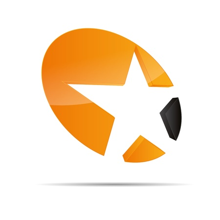 3D abstract circle shooting star starlets symbol corporate design icon logo trademark Vector