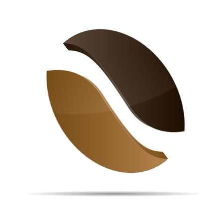 semilla de cafe: 3d café del grano de café corporativo diseño icónico logo marca