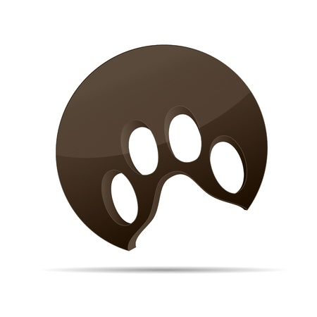 paw: 3D abstraction dog paw animal cat  brown corporate logo design icon sign business