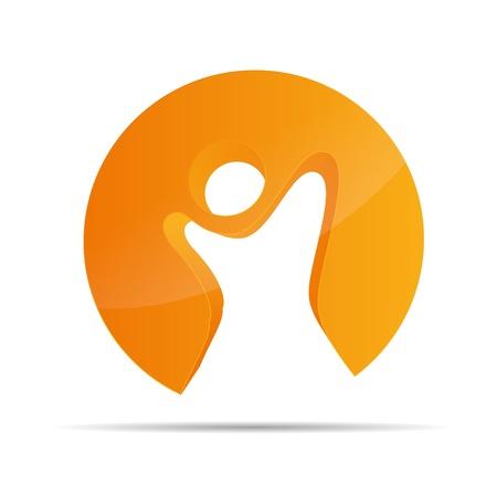kin: 3D abstract figure circle stickman symbol corporate design icon logo trademark
