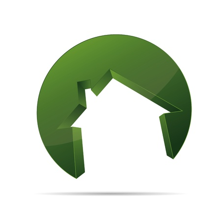 Edificio 3D, casa, hogar arquitecto forma circular símbolo corporativo diseño icónico logo marca