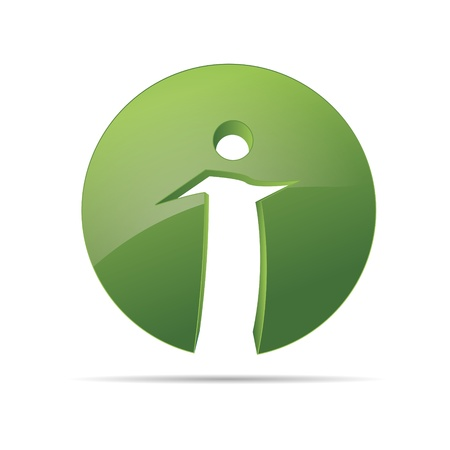 figur: 3D abstract figure circle stickman nature green symbol corporate design icon logo trademark