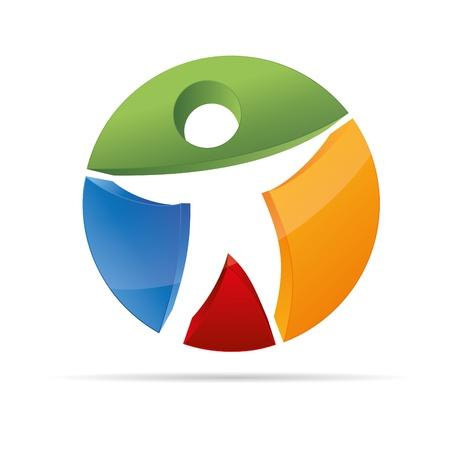 logo medicina: Figura 3D resumen en un c�rculo colorido s�mbolo de marca comercial stickman corporativo dise�o del logotipo icono Vectores