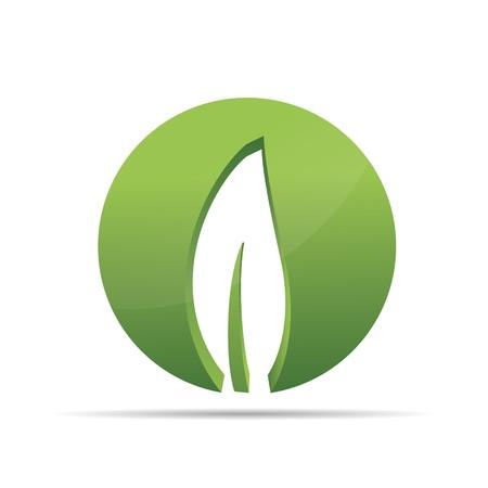 3D nature arbre vert feuille zen cercle corporate design icône logo marque Banque d'images - 15362180