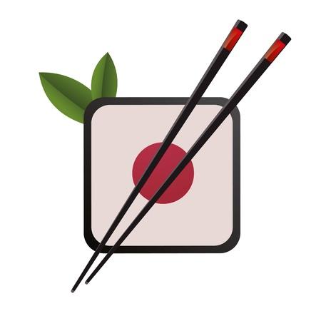 sushi: 3D abstractie japan china restaurant eten eetstokjes cirkel Suhsi logo Stock Illustratie