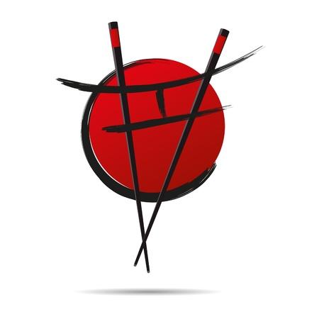 3D abstractie japan china restaurant eten eetstokjes cirkel Suhsi logo Logo