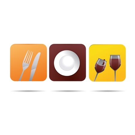 cooking recipe: 3D abstraction cookbook plate restaurant cutlery wineglass corporate logo design icon sign