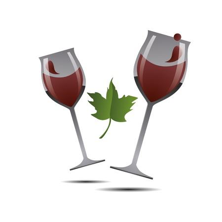 glas 3d: 3D abstraction wine vine glas leaf bottle vineyard corporate logo design icon sign