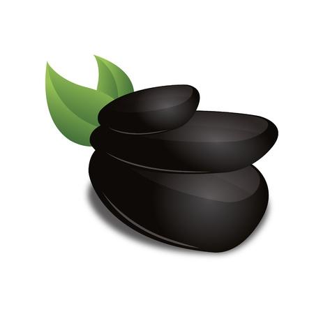 eco slogan: 3D Negro basalto hoja verde zen bienestar icono corporativo dise�o de marcas logo Vectores
