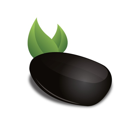 3D Black basalt stone green leaf zen wellness corporate design icon logo trademark Vector