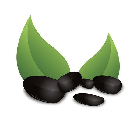 black stone: 3D Black basalt stone green leaf zen wellness corporate design icon logo trademark Illustration