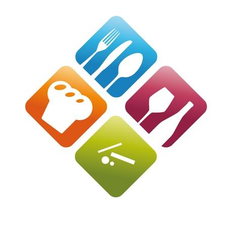 logos restaurantes: Libro de cocina 3D abstracci�n placa restaurante cubiertos copa corporativo de dise�o de logotipo icono de signo Vectores