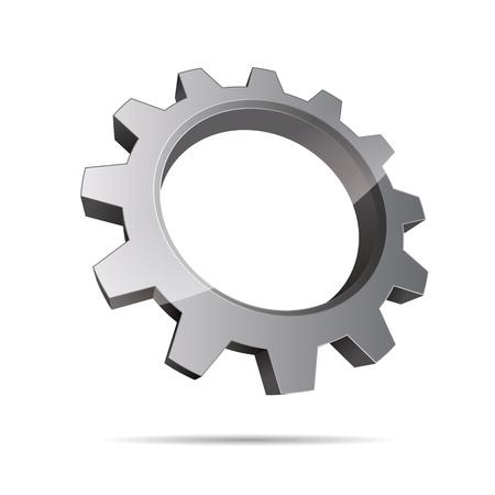 slogan: Pi��n de la rueda motor 3D abstracci�n metalmec�nica logo corporativo dise�o icono de signo