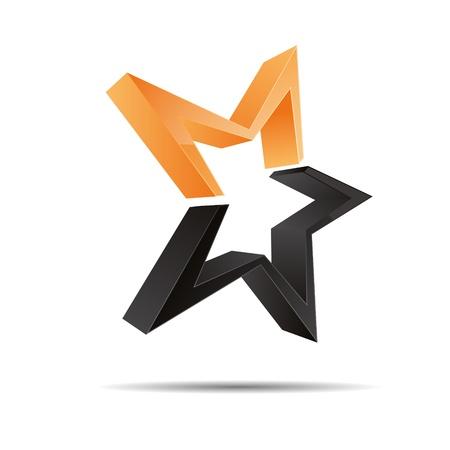 etoiles filante: 3D �toile abstraite tir starlettes �toiles de mer symbole de l'entreprise de conception de logo marque ic�ne