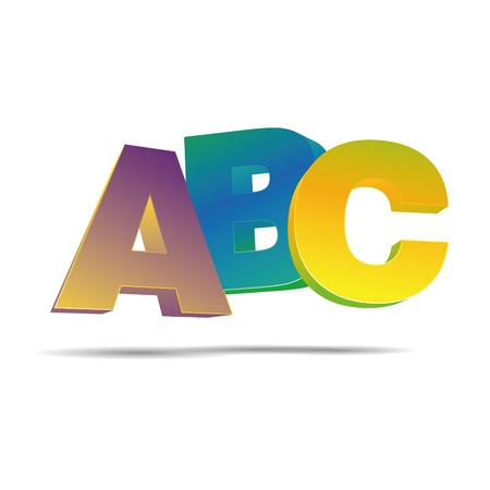 kids abc: 3D abstraction abc alphabet letter elementary school corporate logo design icon sign