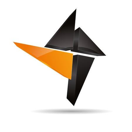 firma: 3D abstract corporate orange sun summer hotel angular cross triangular halft design icon logo trademark