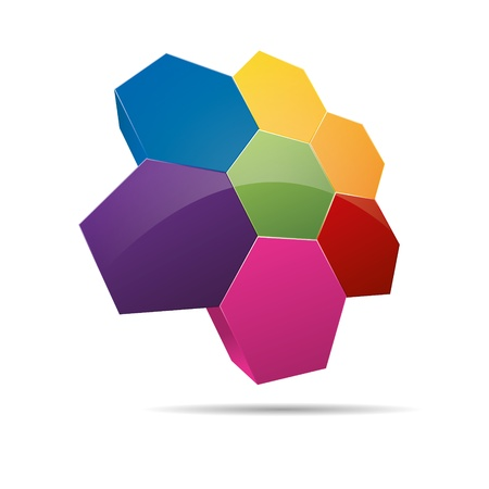 firma: 3D hexagon honeycomb strategy group diagram abstraction corporate logo design icon sign
