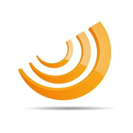 3D Abstraktion Corporate Ringhälfte kreisförmigen rss logo design ico
