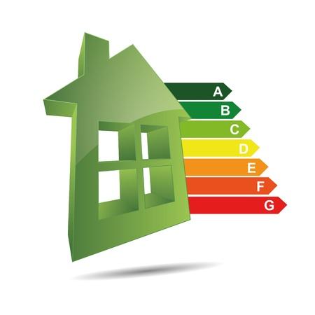 eficiencia energetica: Logo 3D abstracci�n s�mbolo icono eigenheim energ�a para el hogar energ�a eficiencia energ�tica clase de potencia coste