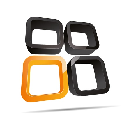 rounded circular: 3D abstract corporate orange sun hotel summer round cube window design icon logo trademark Illustration