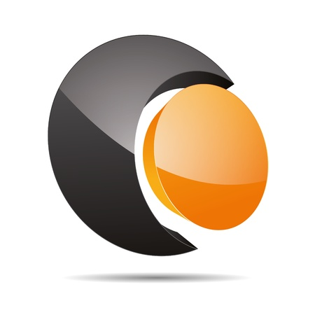 firma: 3D abstract corporate orange sun summer circular point sun design icon logo trademark