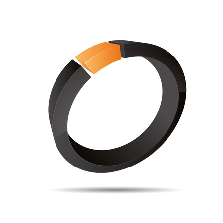 3D abstract corporate orange summer sun ring jewelry pearl design icon logo trademark Stock Vector - 15621586