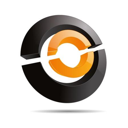firma: 3D abstract orange sun circular symbol ring line slices cube corporate design icon logo trademark