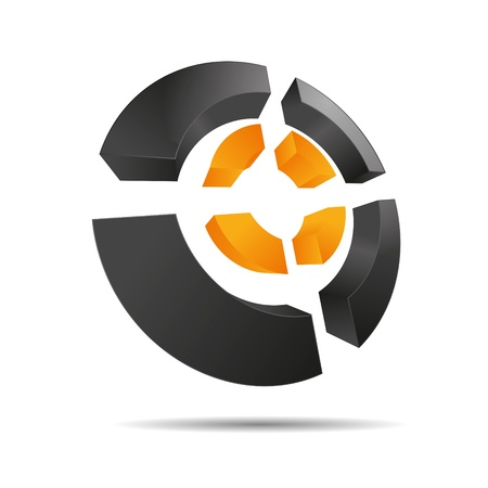 firma: 3D abstract orange sun summer circular symbol ring corners cross cube corporate design icon logo trademark