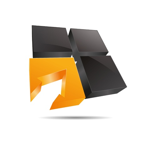 3D abstract cube orange sun window square arrow direction symbol corporate design icon logo trademark Vector